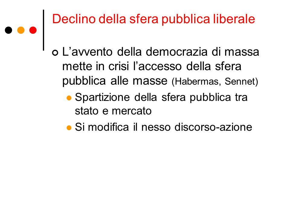Declino della sfera pubblica liberale L'avvento della democrazia di massa mette in crisi l'accesso della sfera pubblica alle masse (Habermas, Sennet)