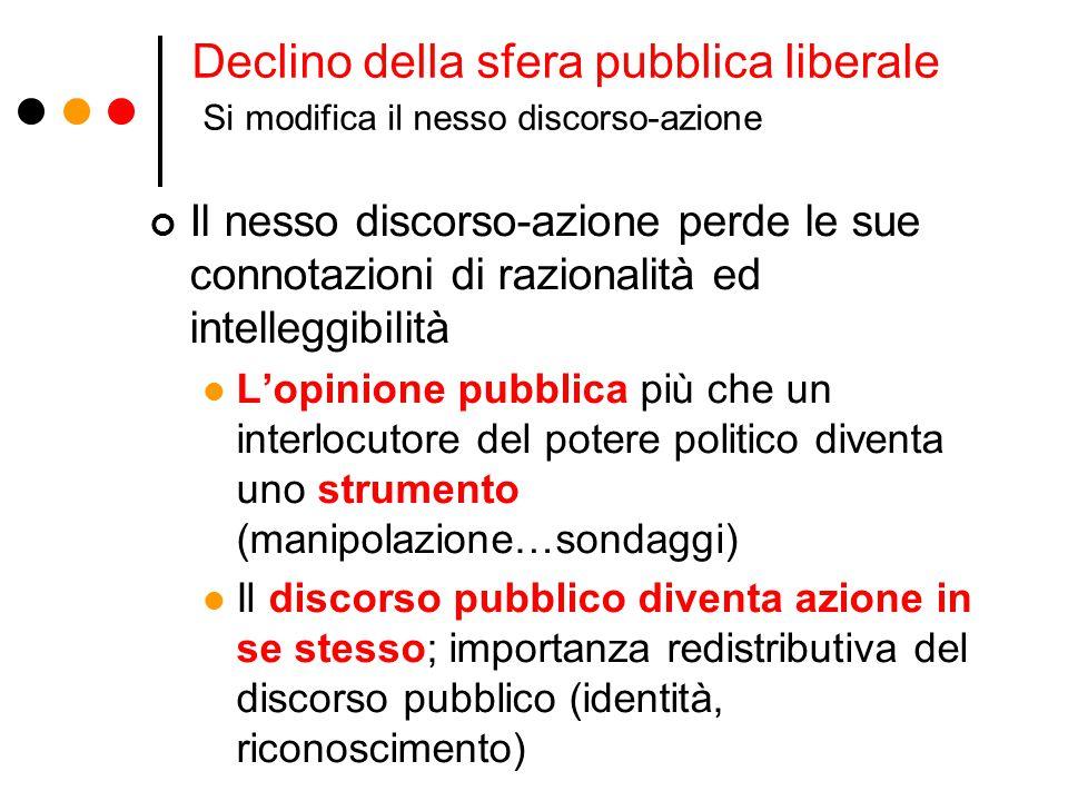 Declino della sfera pubblica liberale Si modifica il nesso discorso-azione Il nesso discorso-azione perde le sue connotazioni di razionalità ed intell