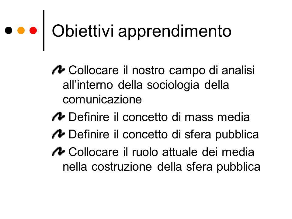 Obiettivi apprendimento Collocare il nostro campo di analisi all'interno della sociologia della comunicazione Definire il concetto di mass media Defin