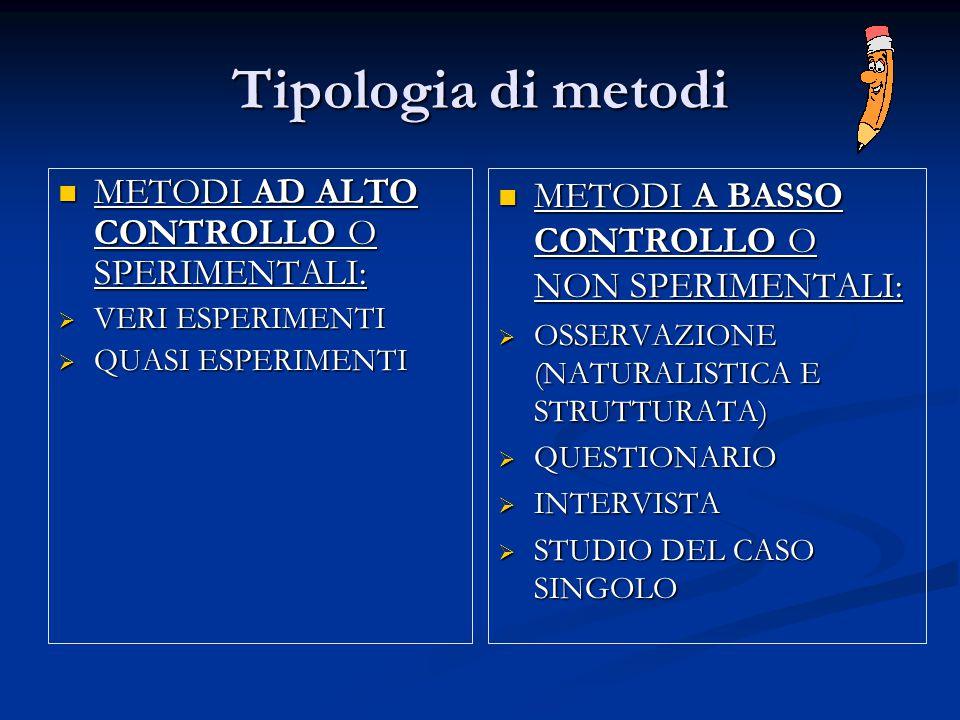 Tipologia di metodi METODI AD ALTO CONTROLLO O SPERIMENTALI: METODI AD ALTO CONTROLLO O SPERIMENTALI:  VERI ESPERIMENTI  QUASI ESPERIMENTI METODI A