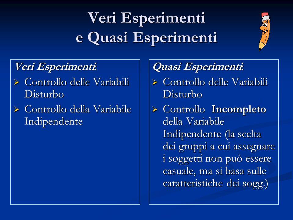 Veri Esperimenti e Quasi Esperimenti Veri Esperimenti:  Controllo delle Variabili Disturbo  Controllo della Variabile Indipendente Quasi Esperimenti