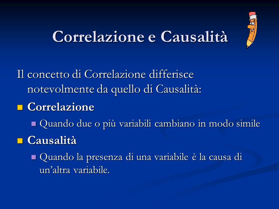 Correlazione e Causalità Il concetto di Correlazione differisce notevolmente da quello di Causalità: Correlazione Correlazione Quando due o più variab