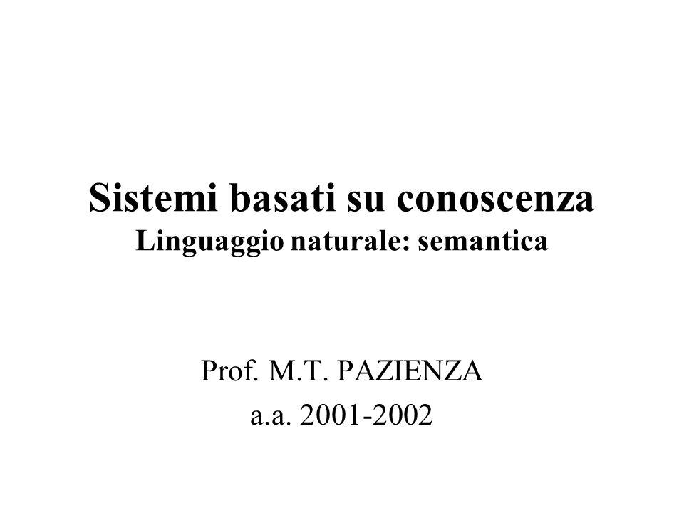 Sistemi basati su conoscenza Linguaggio naturale: semantica Prof. M.T. PAZIENZA a.a. 2001-2002