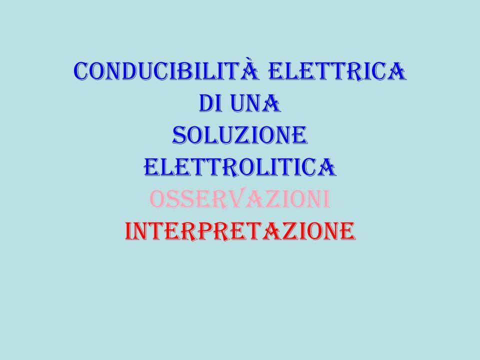 Conducibilità elettrica di una soluzione elettrolitica osservazioni interpretazione