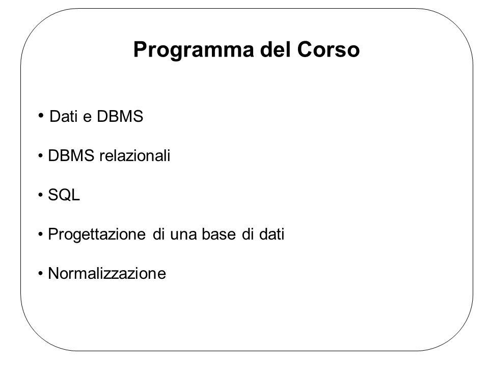 Dati e DBMS DBMS relazionali SQL Progettazione di una base di dati Normalizzazione Programma del Corso