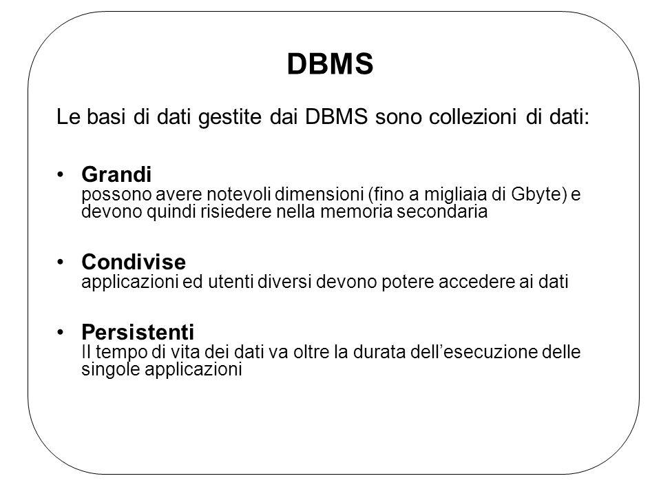 DBMS Le basi di dati gestite dai DBMS sono collezioni di dati: Grandi possono avere notevoli dimensioni (fino a migliaia di Gbyte) e devono quindi risiedere nella memoria secondaria Condivise applicazioni ed utenti diversi devono potere accedere ai dati Persistenti Il tempo di vita dei dati va oltre la durata dell'esecuzione delle singole applicazioni