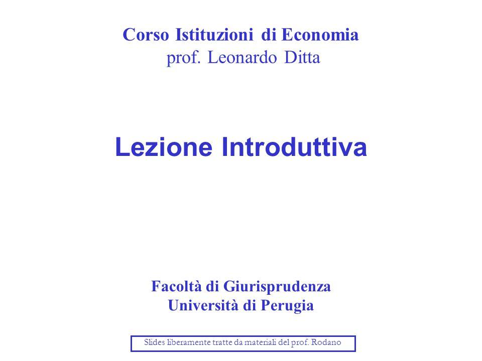 Corso Istituzioni di Economia prof.
