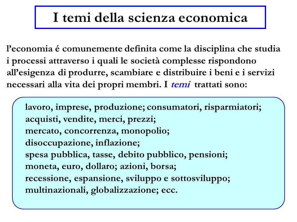 2 I temi della scienza economica l'economia é comunemente definita come la disciplina che studia i processi attraverso i quali le società complesse rispondono all'esigenza di produrre, scambiare e distribuire i beni e i servizi necessari alla vita dei propri membri.
