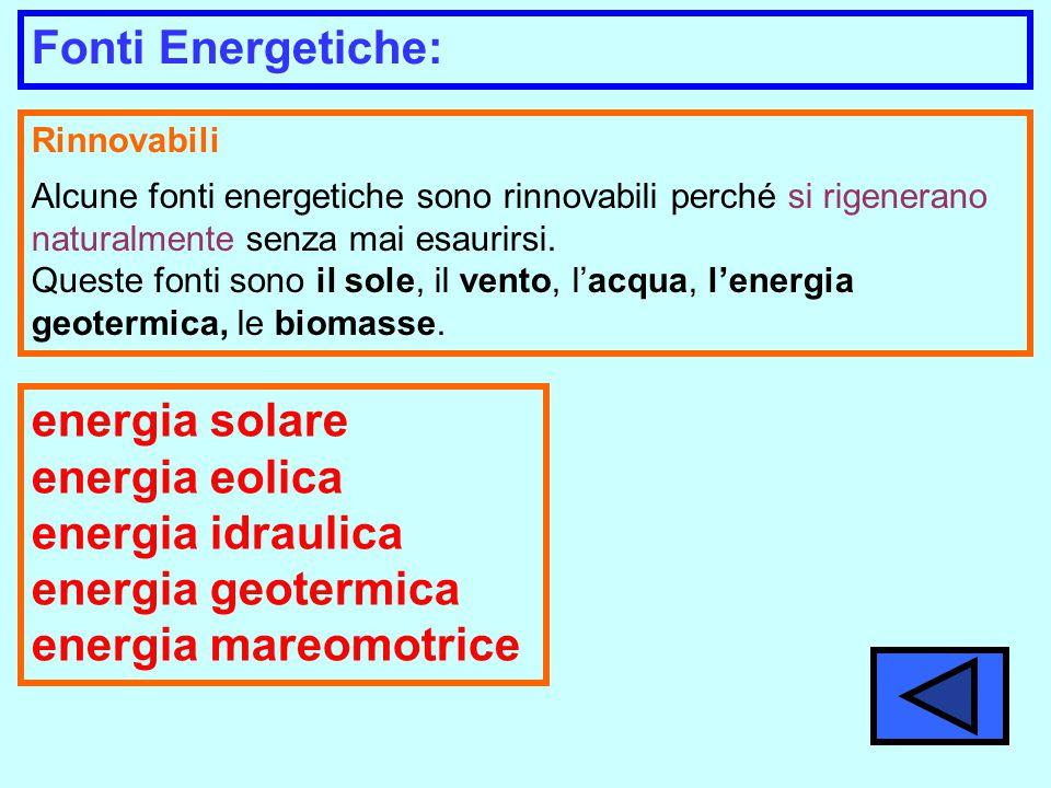 Rinnovabili Alcune fonti energetiche sono rinnovabili perché si rigenerano naturalmente senza mai esaurirsi.