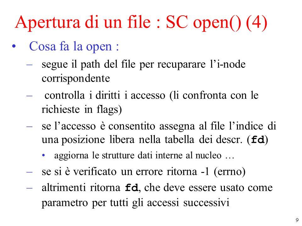 10 Tabella dei file aperti Copia dell'i-node Tabella degli i-node attivi Tabella dei descrittori di file (user area) fd Pos.Corrente 0 write/read Apertura di un file : SC open() (6) Strutture di nucleo legate ai file