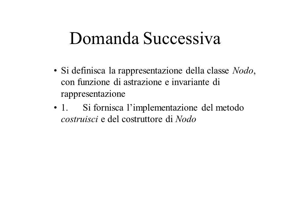 Domanda Successiva Si definisca la rappresentazione della classe Nodo, con funzione di astrazione e invariante di rappresentazione 1.Si fornisca l'implementazione del metodo costruisci e del costruttore di Nodo