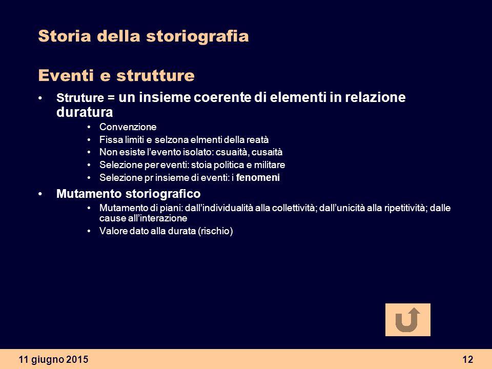 11 giugno 201512 Storia della storiografia Eventi e strutture Struture = un insieme coerente di elementi in relazione duratura Convenzione Fissa limit