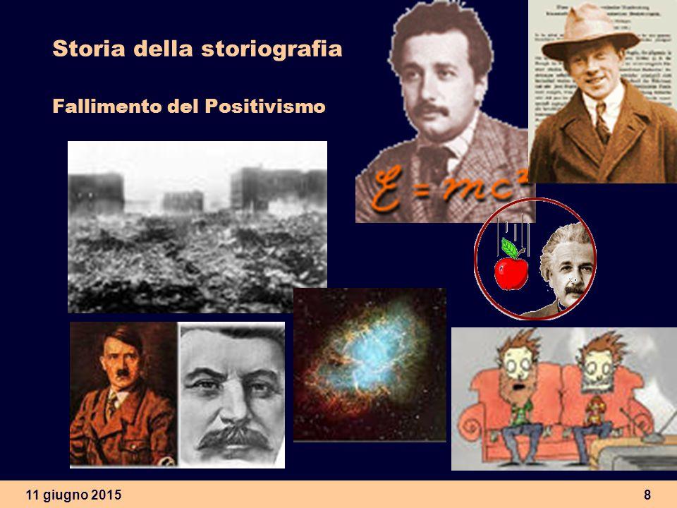 11 giugno 20158 Storia della storiografia Fallimento del Positivismo