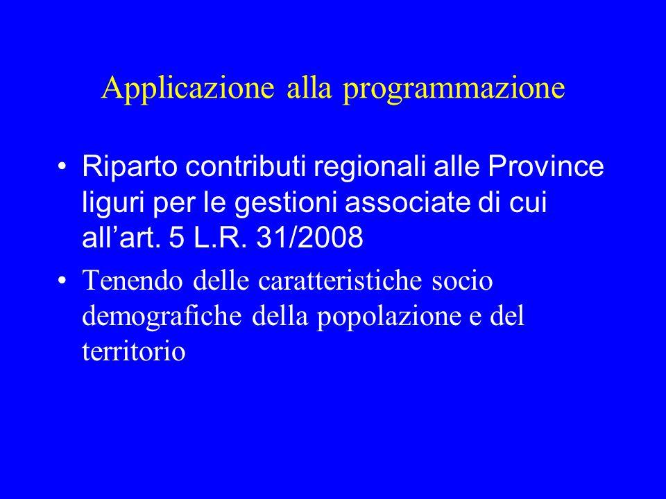 Applicazione alla programmazione Riparto contributi regionali alle Province liguri per le gestioni associate di cui all'art.