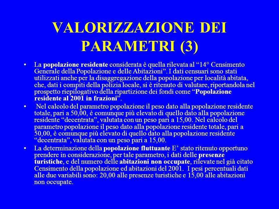 VALORIZZAZIONE DEI PARAMETRI (3) La popolazione residente considerata è quella rilevata al 14° Censimento Generale della Popolazione e delle Abitazioni .