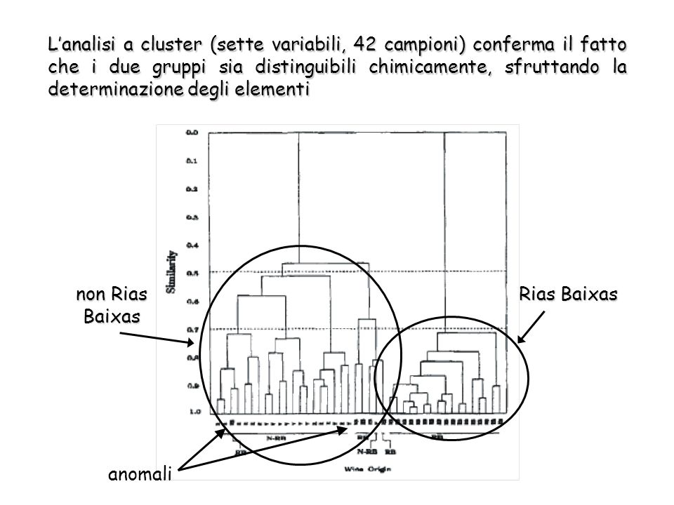 L'analisi a cluster (sette variabili, 42 campioni) conferma il fatto che i due gruppi sia distinguibili chimicamente, sfruttando la determinazione degli elementi Rias Baixas non Rias Baixas anomali
