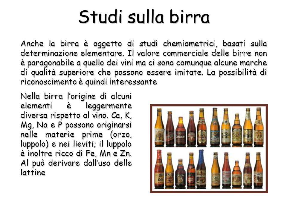 Anche la birra è oggetto di studi chemiometrici, basati sulla determinazione elementare.