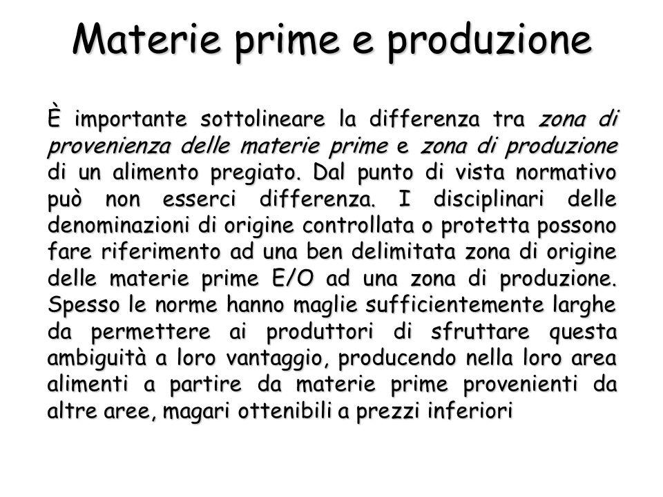 È importante sottolineare la differenza tra zona di provenienza delle materie prime e zona di produzione di un alimento pregiato.