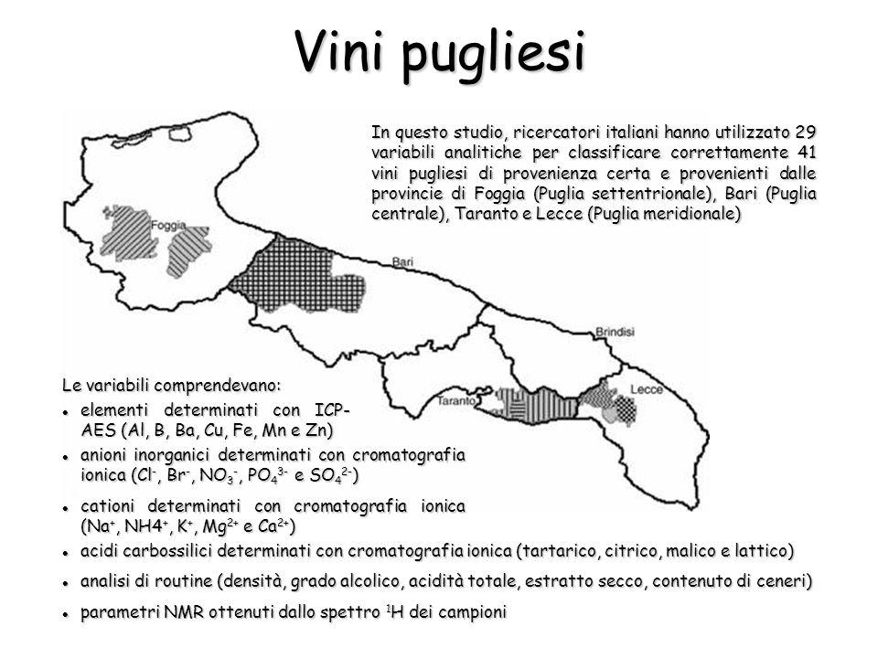 In questo studio, ricercatori italiani hanno utilizzato 29 variabili analitiche per classificare correttamente 41 vini pugliesi di provenienza certa e provenienti dalle provincie di Foggia (Puglia settentrionale), Bari (Puglia centrale), Taranto e Lecce (Puglia meridionale) Vini pugliesi Le variabili comprendevano: elementi determinati con ICP- AES (Al, B, Ba, Cu, Fe, Mn e Zn) elementi determinati con ICP- AES (Al, B, Ba, Cu, Fe, Mn e Zn) anioni inorganici determinati con cromatografia ionica (Cl -, Br -, NO 3 -, PO 4 3- e SO 4 2- ) anioni inorganici determinati con cromatografia ionica (Cl -, Br -, NO 3 -, PO 4 3- e SO 4 2- ) cationi determinati con cromatografia ionica (Na +, NH4 +, K +, Mg 2+ e Ca 2+ ) cationi determinati con cromatografia ionica (Na +, NH4 +, K +, Mg 2+ e Ca 2+ ) acidi carbossilici determinati con cromatografia ionica (tartarico, citrico, malico e lattico) acidi carbossilici determinati con cromatografia ionica (tartarico, citrico, malico e lattico) analisi di routine (densità, grado alcolico, acidità totale, estratto secco, contenuto di ceneri) analisi di routine (densità, grado alcolico, acidità totale, estratto secco, contenuto di ceneri) parametri NMR ottenuti dallo spettro 1 H dei campioni parametri NMR ottenuti dallo spettro 1 H dei campioni