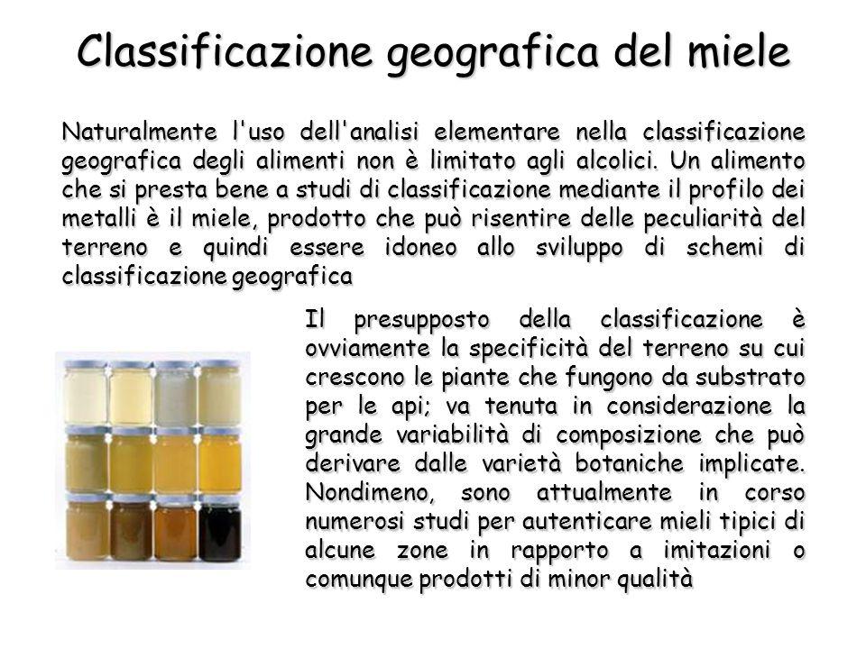 Naturalmente l uso dell analisi elementare nella classificazione geografica degli alimenti non è limitato agli alcolici.