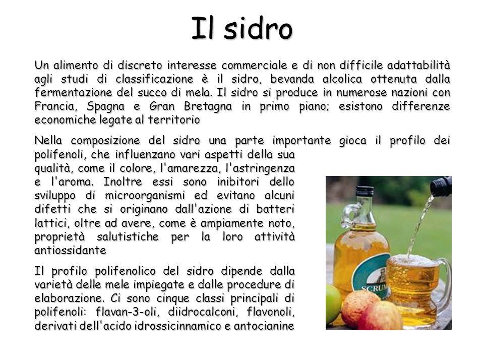 Un alimento di discreto interesse commerciale e di non difficile adattabilità agli studi di classificazione è il sidro, bevanda alcolica ottenuta dalla fermentazione del succo di mela.