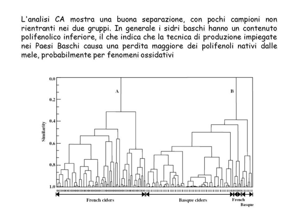 L analisi CA mostra una buona separazione, con pochi campioni non rientranti nei due gruppi.