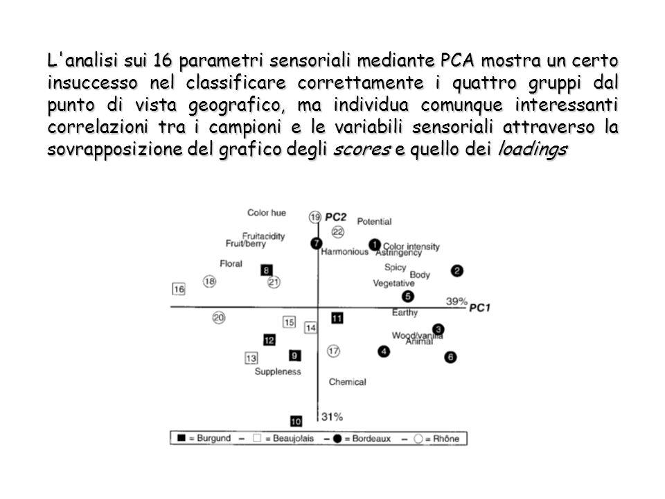L analisi sui 16 parametri sensoriali mediante PCA mostra un certo insuccesso nel classificare correttamente i quattro gruppi dal punto di vista geografico, ma individua comunque interessanti correlazioni tra i campioni e le variabili sensoriali attraverso la sovrapposizione del grafico degli scores e quello dei loadings