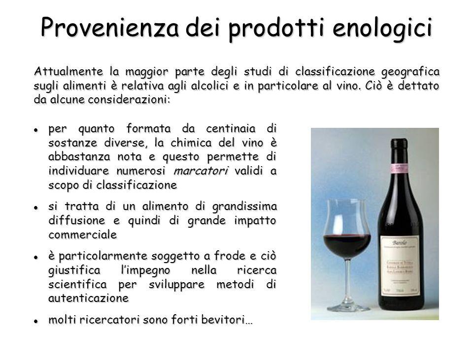 Attualmente la maggior parte degli studi di classificazione geografica sugli alimenti è relativa agli alcolici e in particolare al vino.