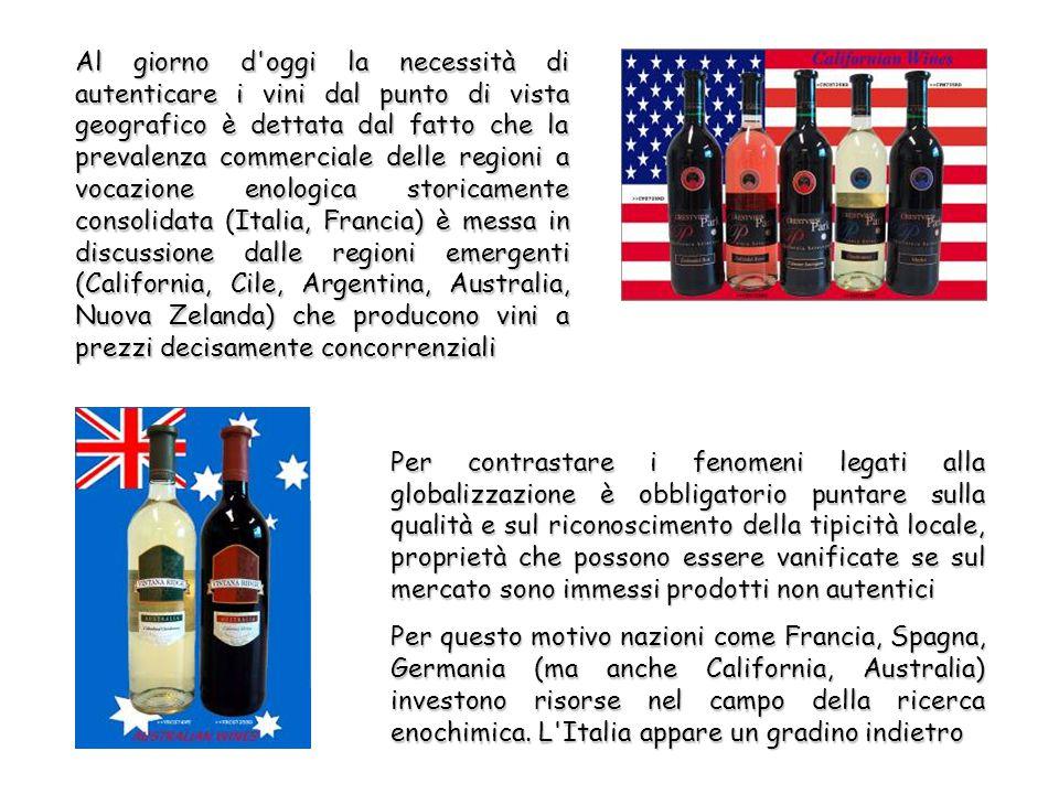 Al giorno d oggi la necessità di autenticare i vini dal punto di vista geografico è dettata dal fatto che la prevalenza commerciale delle regioni a vocazione enologica storicamente consolidata (Italia, Francia) è messa in discussione dalle regioni emergenti (California, Cile, Argentina, Australia, Nuova Zelanda) che producono vini a prezzi decisamente concorrenziali Per contrastare i fenomeni legati alla globalizzazione è obbligatorio puntare sulla qualità e sul riconoscimento della tipicità locale, proprietà che possono essere vanificate se sul mercato sono immessi prodotti non autentici Per questo motivo nazioni come Francia, Spagna, Germania (ma anche California, Australia) investono risorse nel campo della ricerca enochimica.