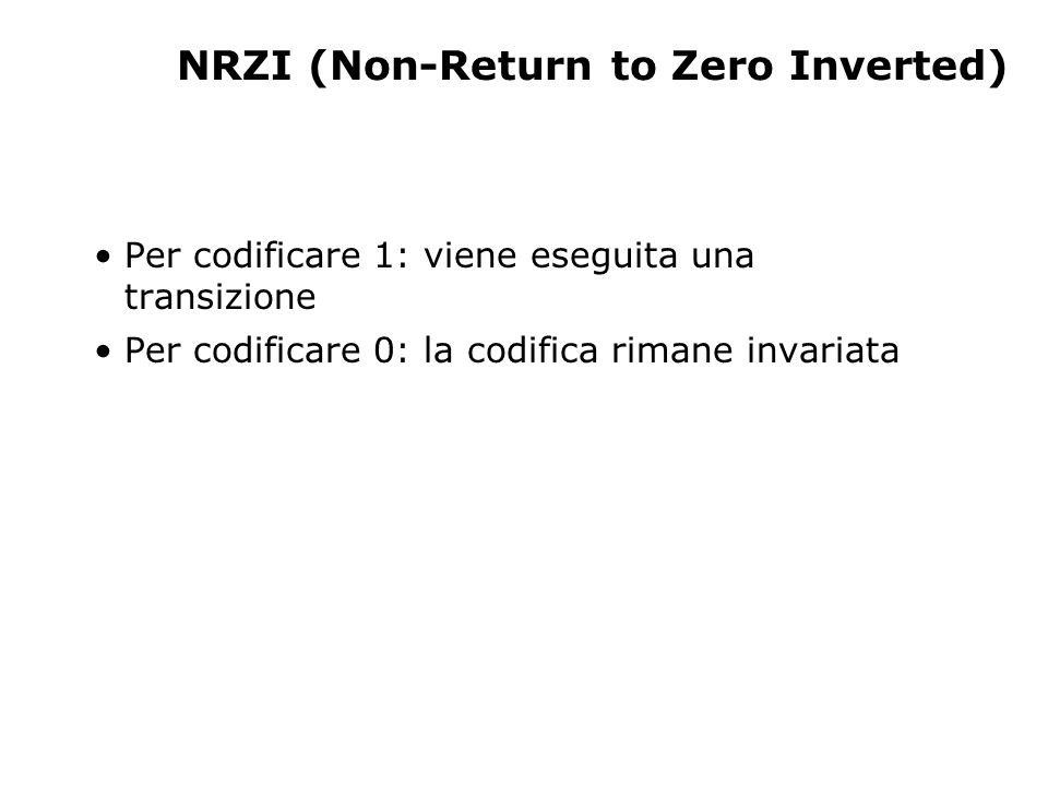 NRZI (Non-Return to Zero Inverted) Per codificare 1: viene eseguita una transizione Per codificare 0: la codifica rimane invariata
