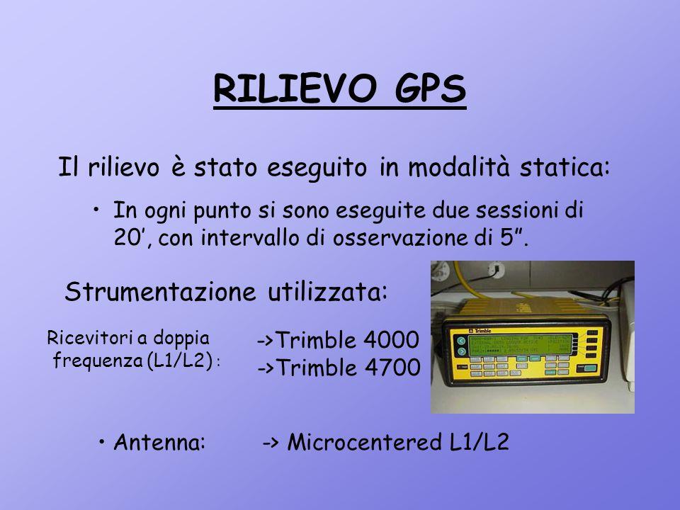 """RILIEVO GPS Il rilievo è stato eseguito in modalità statica: In ogni punto si sono eseguite due sessioni di 20', con intervallo di osservazione di 5""""."""