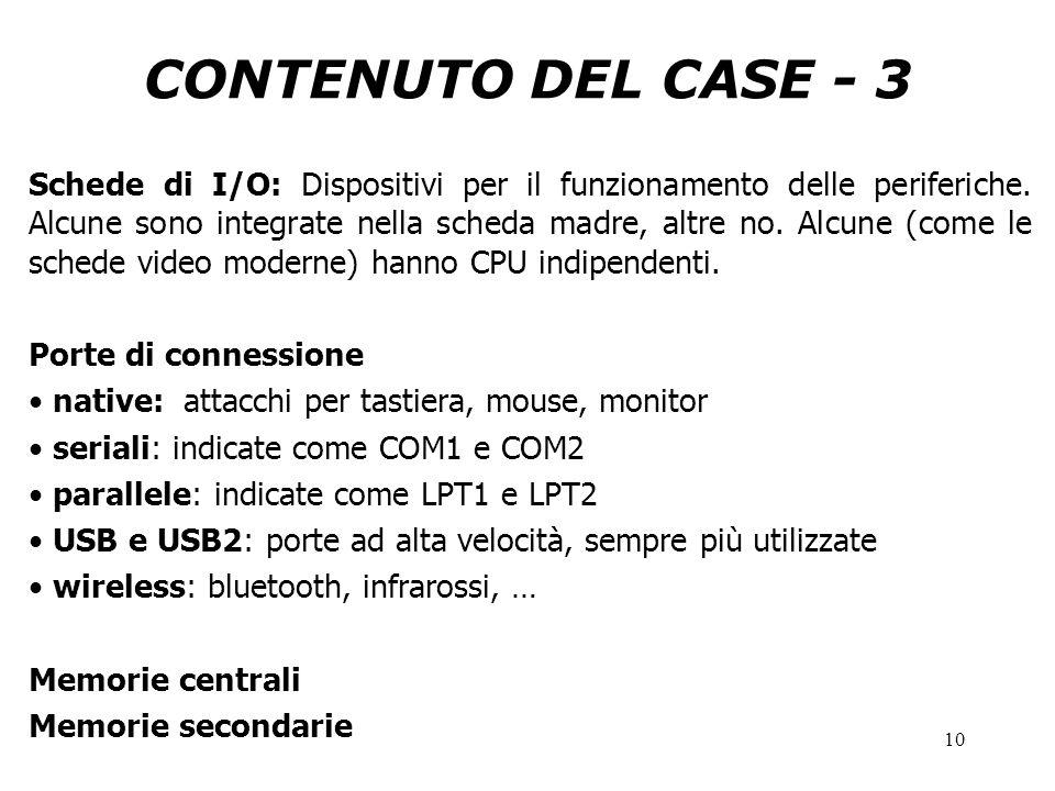 10 CONTENUTO DEL CASE - 3 Schede di I/O: Dispositivi per il funzionamento delle periferiche. Alcune sono integrate nella scheda madre, altre no. Alcun
