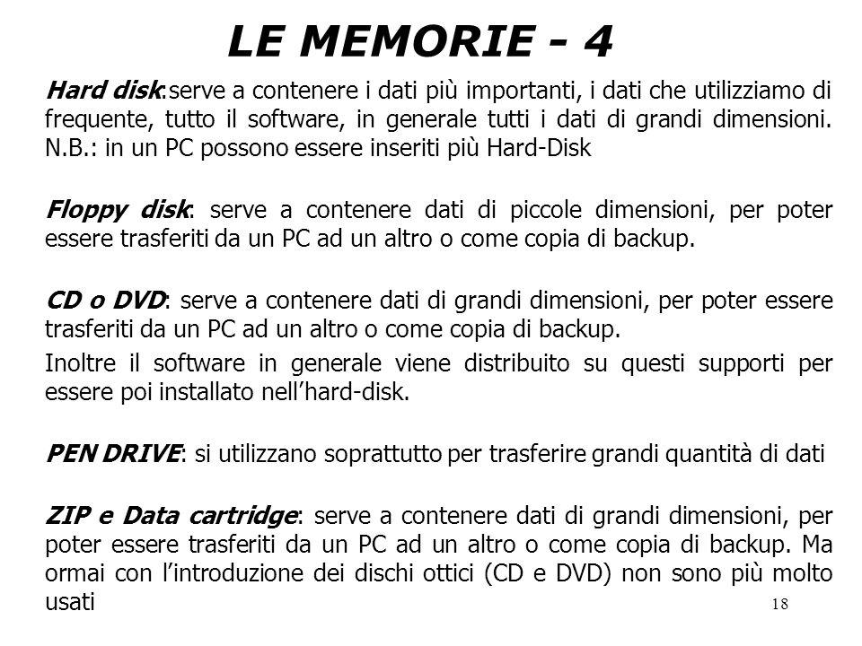 18 LE MEMORIE - 4 Hard disk:serve a contenere i dati più importanti, i dati che utilizziamo di frequente, tutto il software, in generale tutti i dati