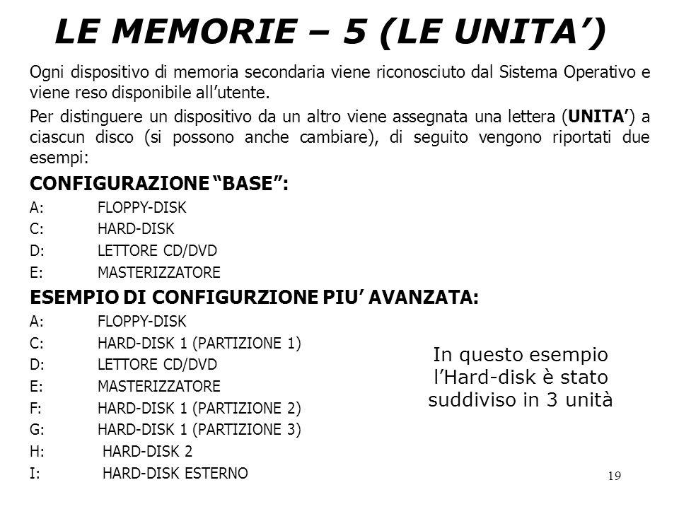 19 LE MEMORIE – 5 (LE UNITA') Ogni dispositivo di memoria secondaria viene riconosciuto dal Sistema Operativo e viene reso disponibile all'utente. Per