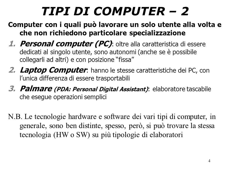 4 TIPI DI COMPUTER – 2 Computer con i quali può lavorare un solo utente alla volta e che non richiedono particolare specializzazione 1.Personal computer (PC) : oltre alla caratteristica di essere dedicati al singolo utente, sono autonomi (anche se è possibile collegarli ad altri) e con posizione fissa 2.Laptop Computer : hanno le stesse caratteristiche dei PC, con l'unica differenza di essere trasportabili 3.Palmare (PDA: Personal Digital Assistant) : elaboratore tascabile che esegue operazioni semplici N.B.