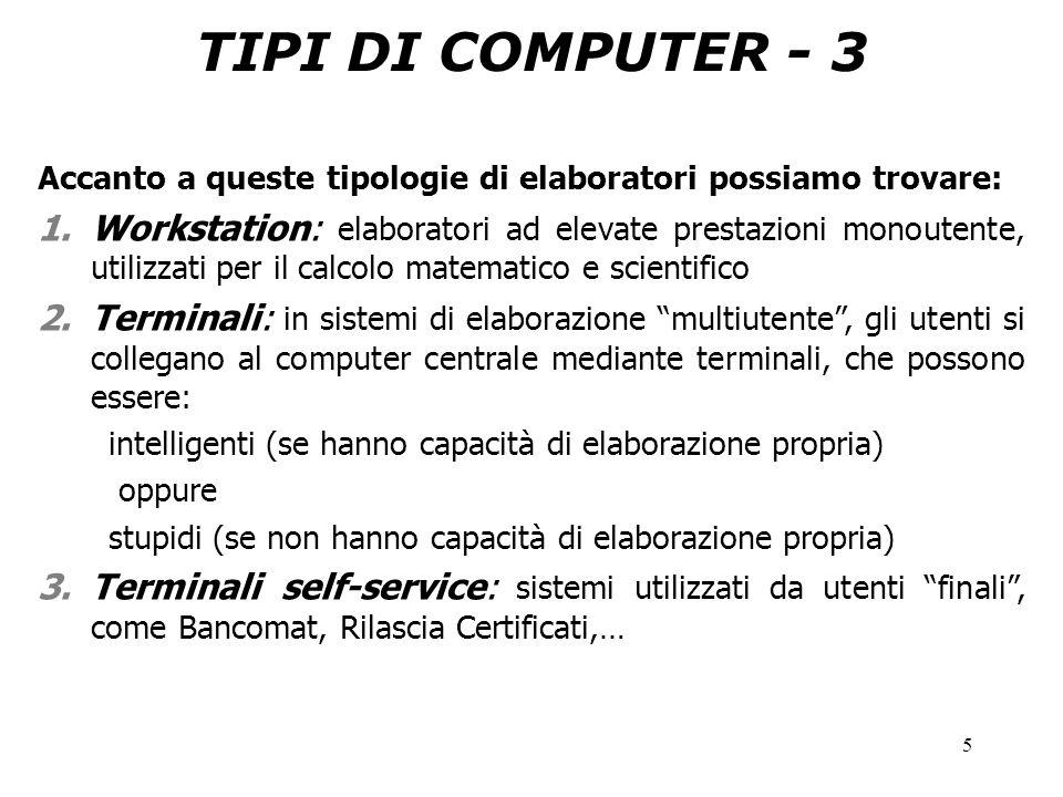 5 TIPI DI COMPUTER - 3 Accanto a queste tipologie di elaboratori possiamo trovare: 1.Workstation: elaboratori ad elevate prestazioni monoutente, utili