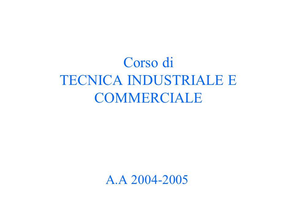 Corso di TECNICA INDUSTRIALE E COMMERCIALE A.A 2004-2005