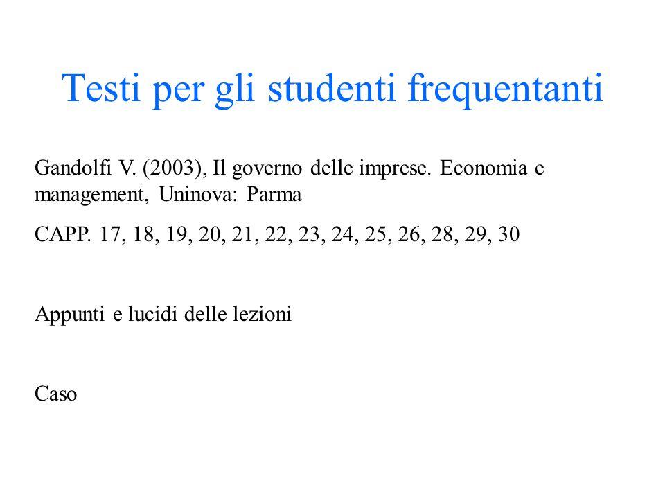 Testi per gli studenti frequentanti Gandolfi V. (2003), Il governo delle imprese. Economia e management, Uninova: Parma CAPP. 17, 18, 19, 20, 21, 22,