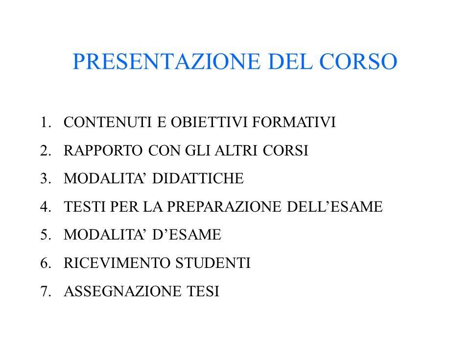 PRESENTAZIONE DEL CORSO 1.CONTENUTI E OBIETTIVI FORMATIVI 2.RAPPORTO CON GLI ALTRI CORSI 3.MODALITA' DIDATTICHE 4.TESTI PER LA PREPARAZIONE DELL'ESAME 5.MODALITA' D'ESAME 6.RICEVIMENTO STUDENTI 7.ASSEGNAZIONE TESI