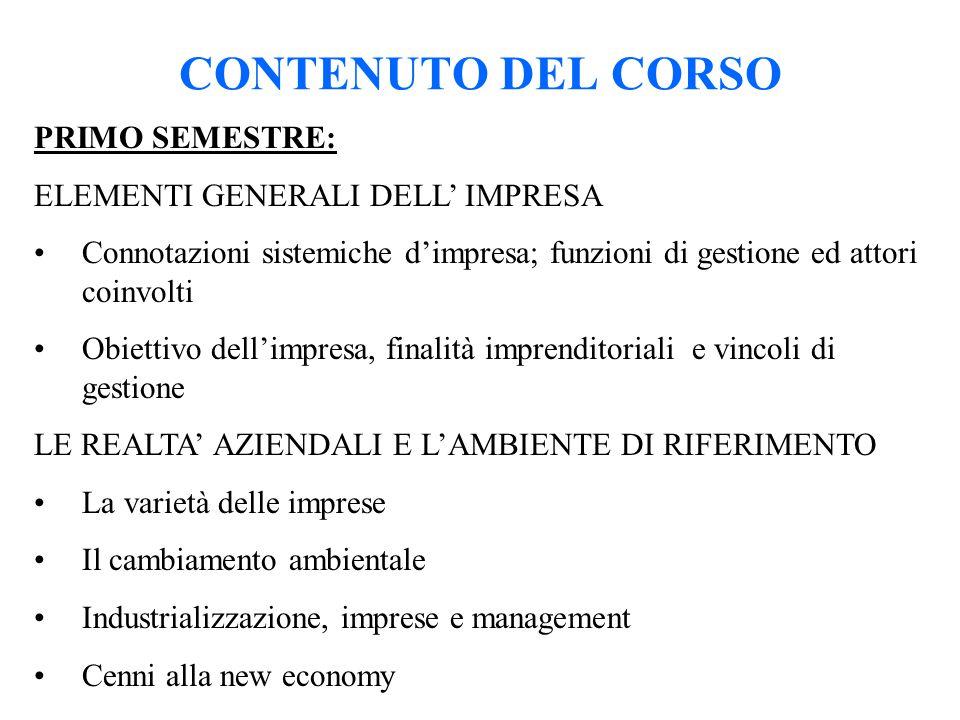 CONTENUTO DEL CORSO PRIMO SEMESTRE: ELEMENTI GENERALI DELL' IMPRESA Connotazioni sistemiche d'impresa; funzioni di gestione ed attori coinvolti Obiett