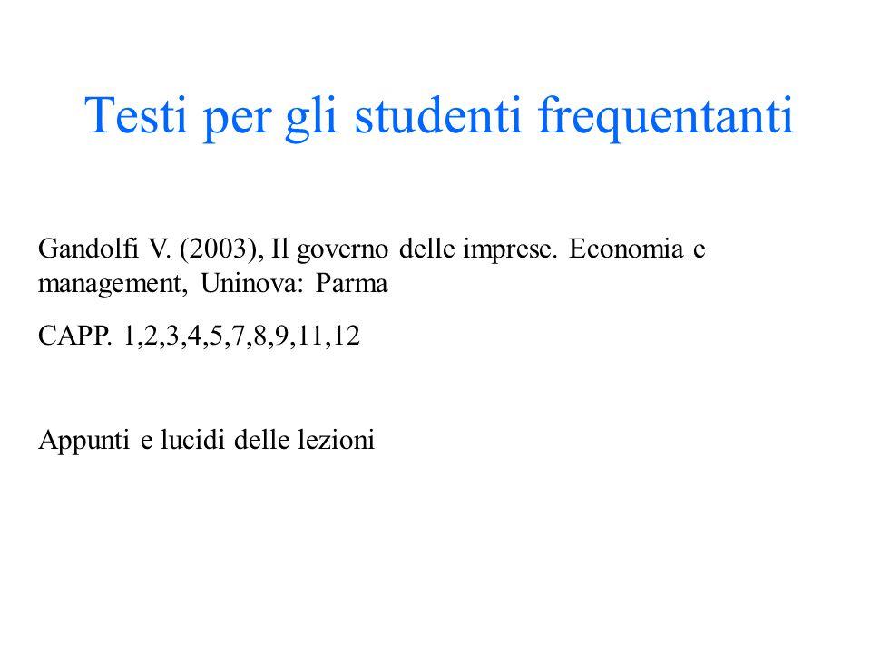 Testi per gli studenti frequentanti Gandolfi V. (2003), Il governo delle imprese. Economia e management, Uninova: Parma CAPP. 1,2,3,4,5,7,8,9,11,12 Ap