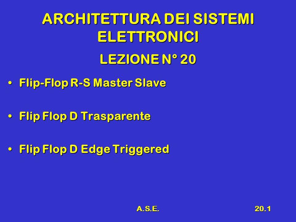A.S.E.20.2 Richiami Flip – Flop R-SFlip – Flop R-S Problema dell'instabilitàProblema dell'instabilità Architettura Master SlaveArchitettura Master Slave