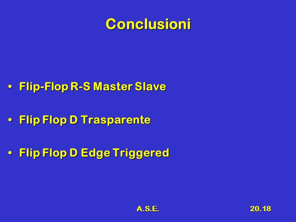 A.S.E.20.18 Conclusioni Flip-Flop R-S Master SlaveFlip-Flop R-S Master Slave Flip Flop D TrasparenteFlip Flop D Trasparente Flip Flop D Edge TriggeredFlip Flop D Edge Triggered