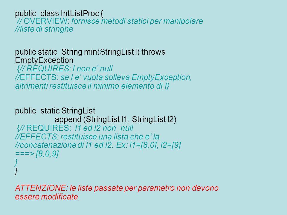 public class IntListProc { // OVERVIEW: fornisce metodi statici per manipolare //liste di stringhe public static String min(StringList l) throws EmptyException {// REQUIRES: l non e' null //EFFECTS: se l e' vuota solleva EmptyException, altrimenti restituisce il minimo elemento di l} public static StringList append (StringList l1, StringList l2) {// REQUIRES: l1 ed l2 non null //EFFECTS: restituisce una lista che e' la //concatenazione di l1 ed l2.