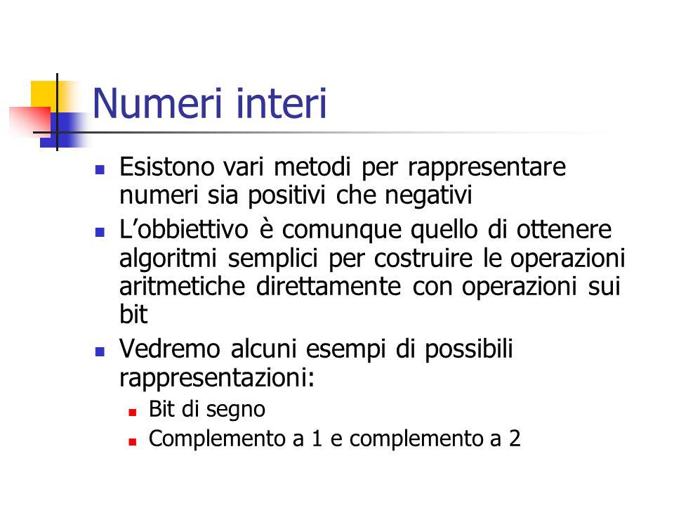 Numeri interi Esistono vari metodi per rappresentare numeri sia positivi che negativi L'obbiettivo è comunque quello di ottenere algoritmi semplici per costruire le operazioni aritmetiche direttamente con operazioni sui bit Vedremo alcuni esempi di possibili rappresentazioni: Bit di segno Complemento a 1 e complemento a 2