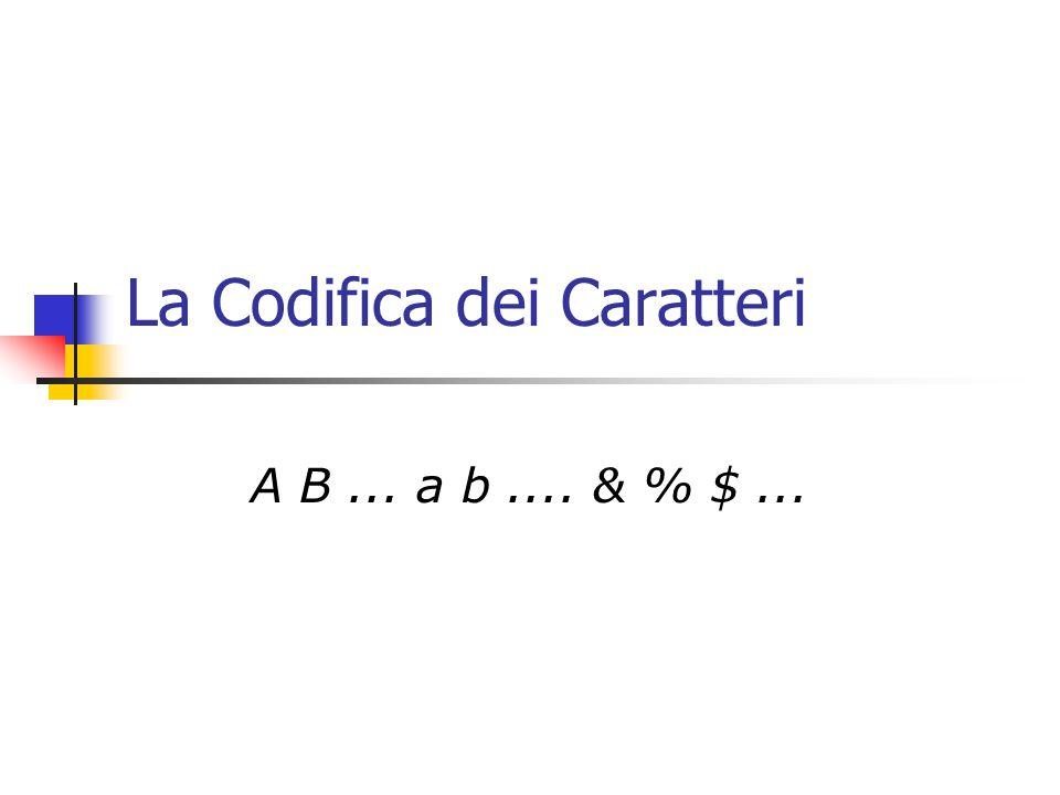 La Codifica dei Caratteri A B... a b.... & % $...