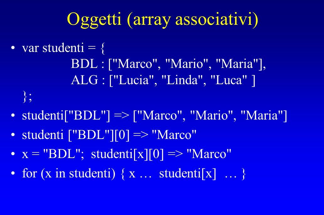 Oggetti (array associativi) var studenti = { BDL : [ Marco , Mario , Maria ], ALG : [ Lucia , Linda , Luca ] }; studenti[ BDL ] => [ Marco , Mario , Maria ] studenti [ BDL ][0] => Marco x = BDL ; studenti[x][0] => Marco for (x in studenti) { x … studenti[x] … }