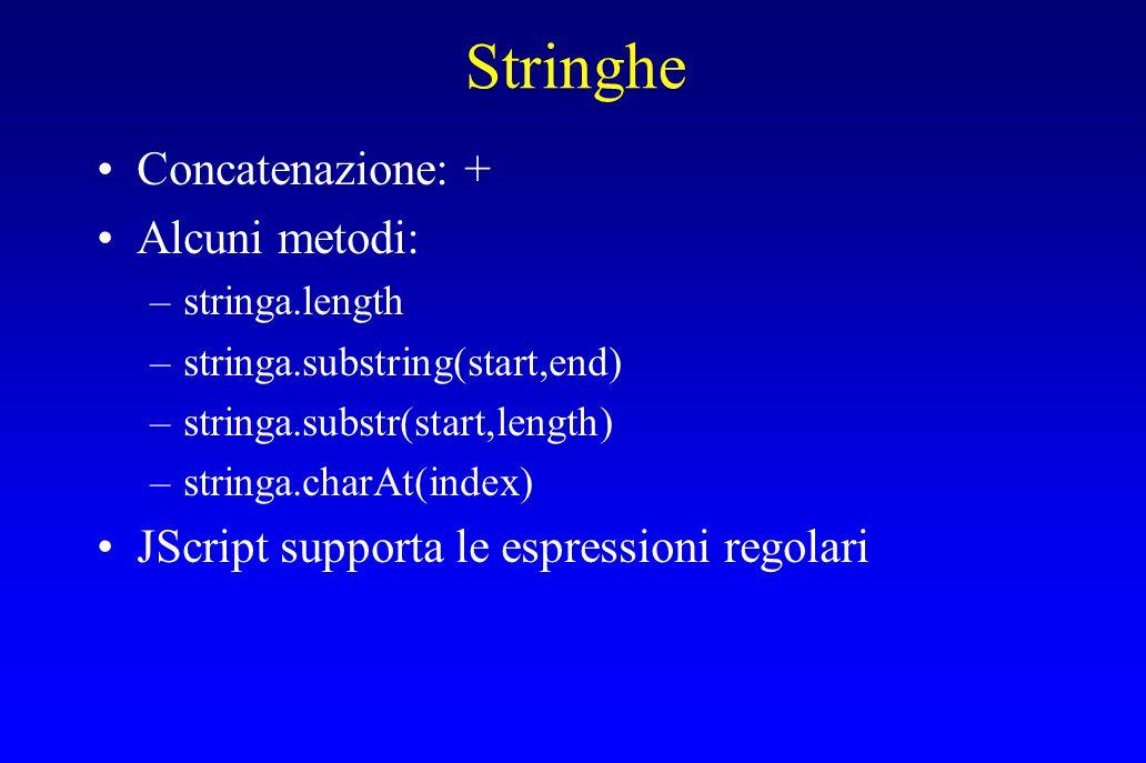 Stringhe Concatenazione: + Alcuni metodi: –stringa.length –stringa.substring(start,end) –stringa.substr(start,length) –stringa.charAt(index) JScript supporta le espressioni regolari