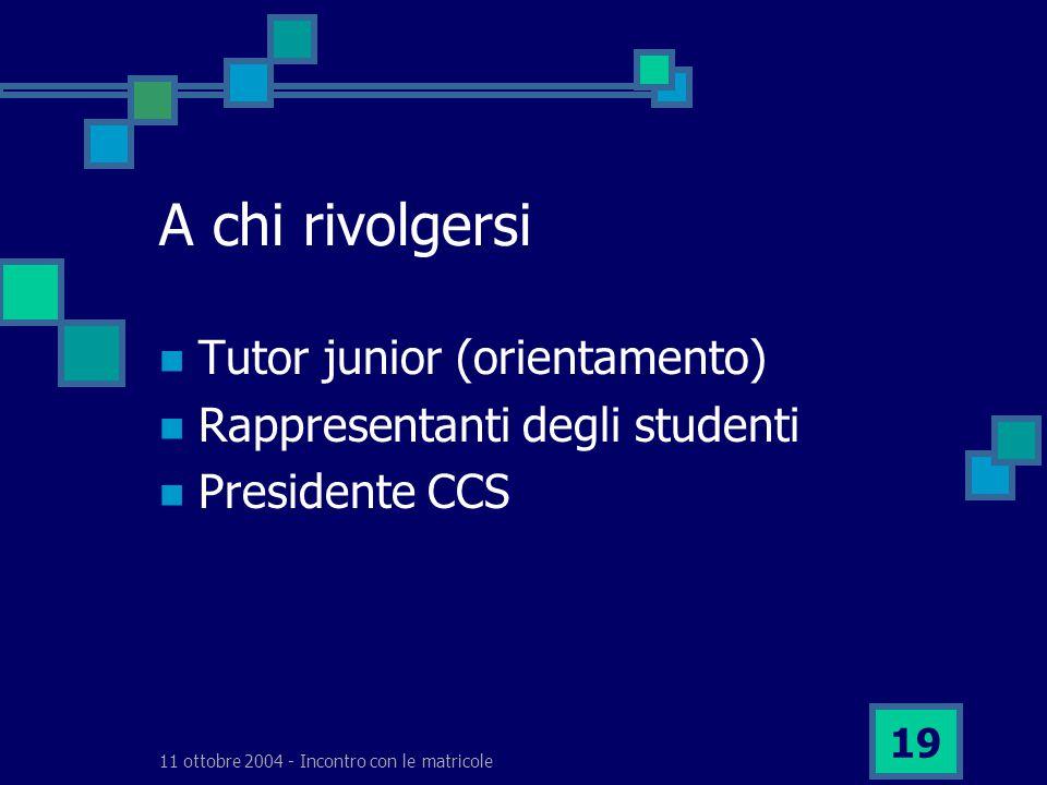 11 ottobre 2004 - Incontro con le matricole 19 A chi rivolgersi Tutor junior (orientamento) Rappresentanti degli studenti Presidente CCS