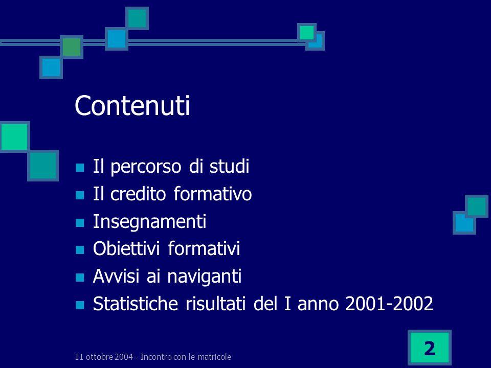 11 ottobre 2004 - Incontro con le matricole 2 Contenuti Il percorso di studi Il credito formativo Insegnamenti Obiettivi formativi Avvisi ai naviganti Statistiche risultati del I anno 2001-2002